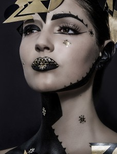 space creative makeup on beautiful model