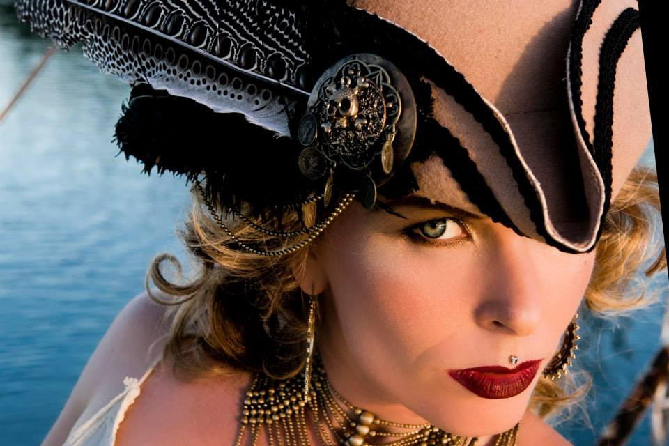 Satya James wearing custom made fashion gipsy pirate  hat