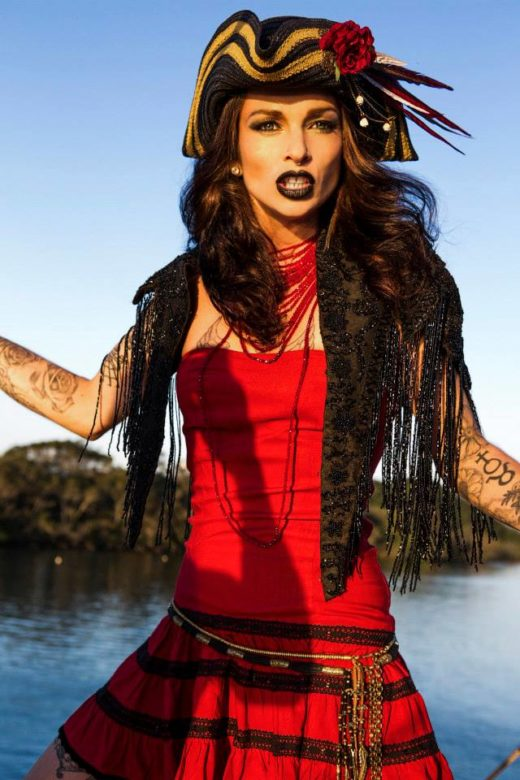 fierce pirate fashion shoot in red