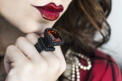 red lips and japanese beeds ring