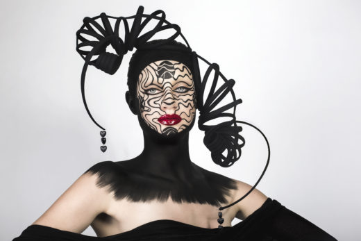 model beauty cyborg art black headpiece red lips makeupart