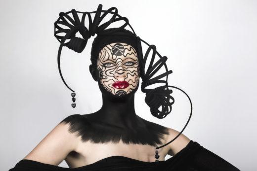 model beauty cyborg art black headpiece red lips makeupart