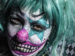 scary clown bodyart makeup,creative portraiture,creative photography