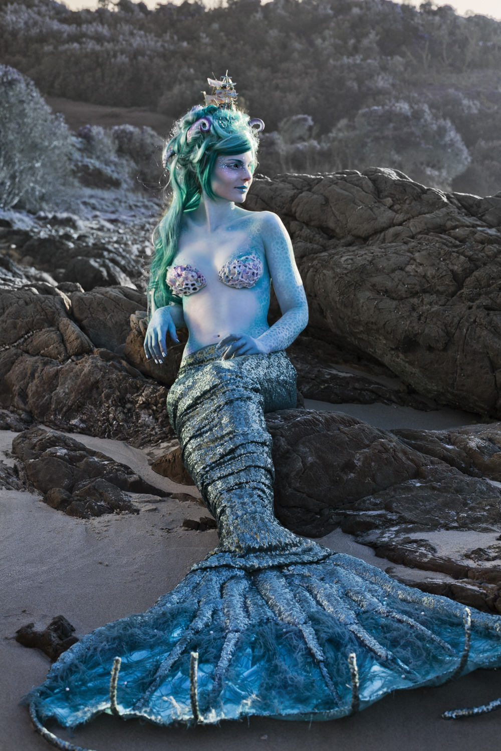 mermaid costume and makeup art bodyart in Byron bay