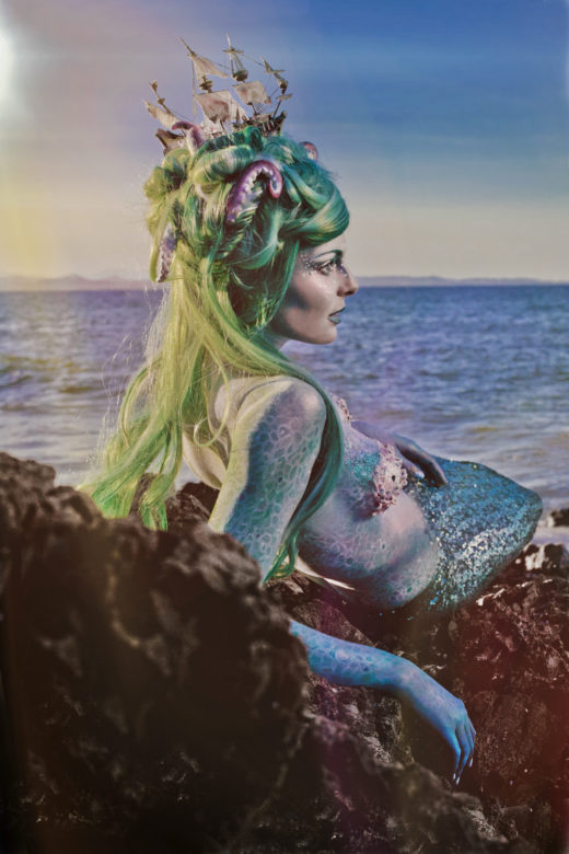 amazing image of elle in mermaid mode ,wig and tail mermaid costume