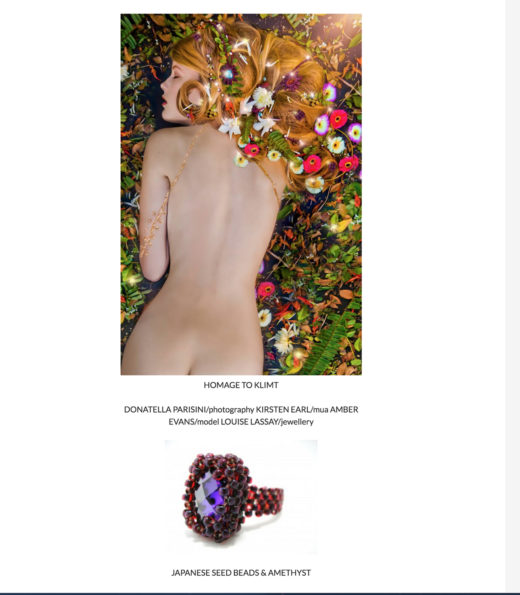 photography homage to Gustave Klimt the model wears Louise jewellery