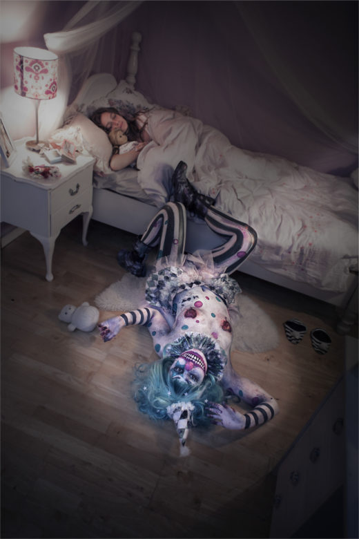 scary nightmare clown bodyart makeup,creative portraiture,creative photography