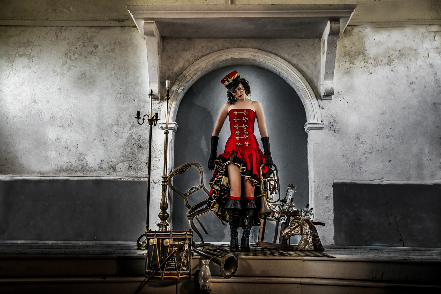 Steph is our toy soldier in the editorial 'crimson memories' creative projec makeup art