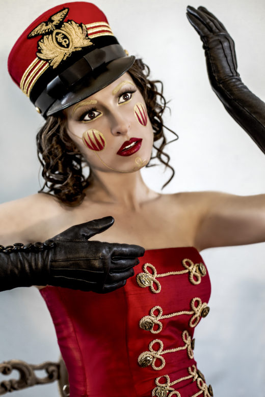 amazing close up of  our toy soldier in the editorial 'crimson memories' creative project makeup art