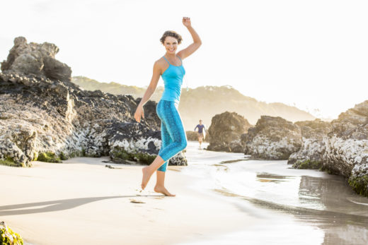 yoga mandala clothes for yoga model  on sunset in Byron Bay