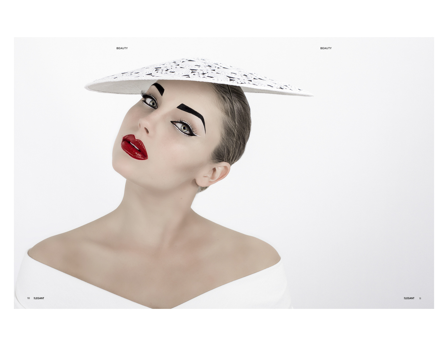 all white and red lips in the millinery hat couture fashion shoot