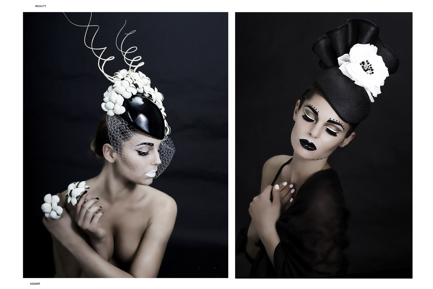 2 pages spread on elegant magazine fashion couture