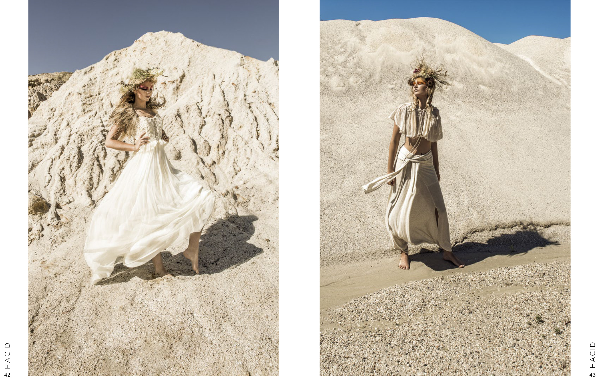 white sand white dresses white model  Lisa Brown designs on Hacid magazine