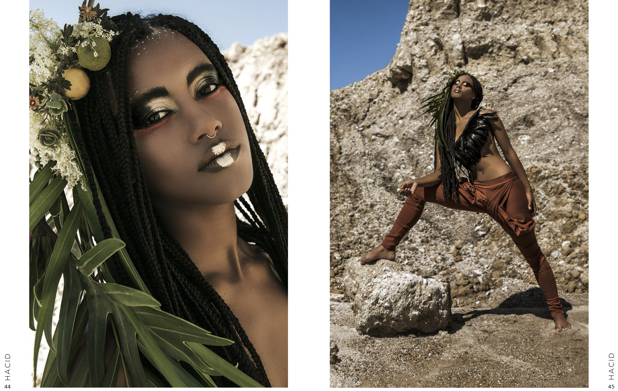 TerraLuna Editorial for Lisa Brown designs on Hacid magazine omo tribe