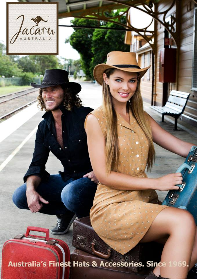 beautiful girl posing before the train station for Jacaru Hat  Byron Bay Fashion Photographer
