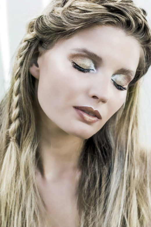 metallic gold copper silver eyeshadows Cait model  beauty shoot