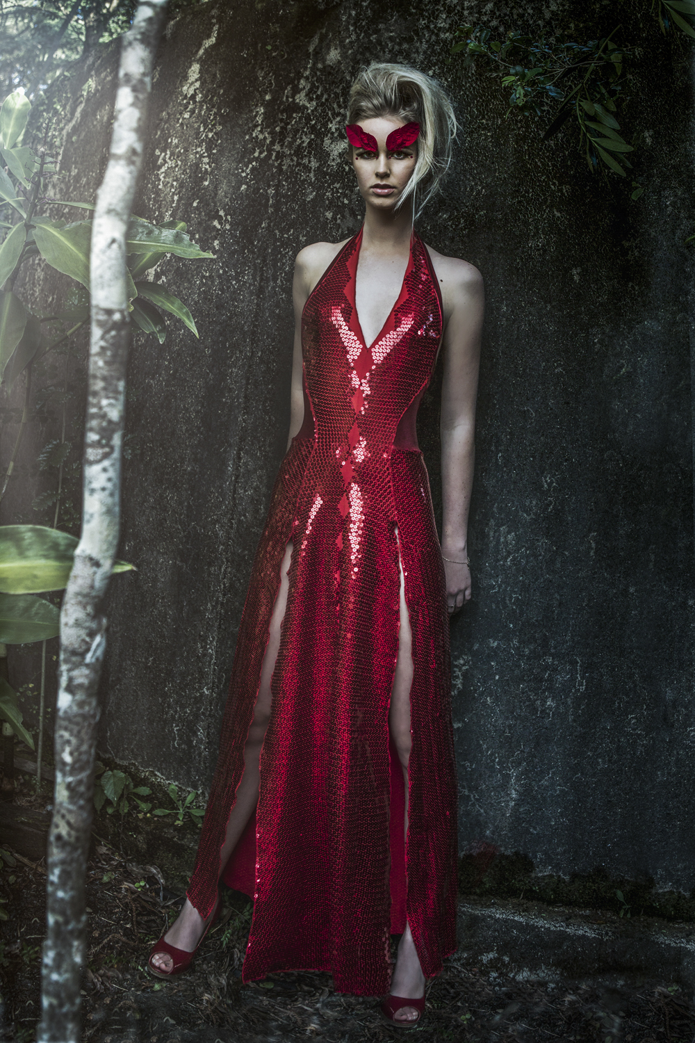 beautiful  leaf makeup on Taylah model in red  the fashion Editorial