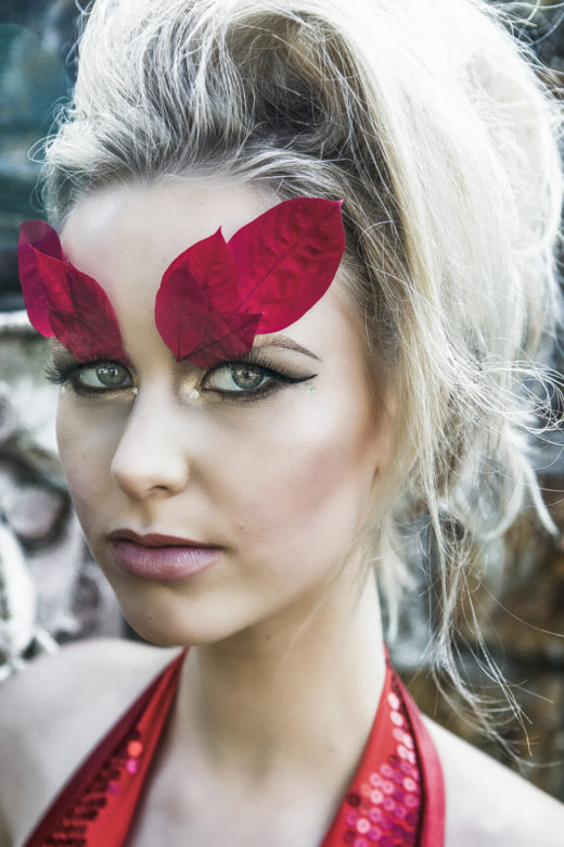 red leafes beautiful makeup on Taylah model in the fashion Editorial