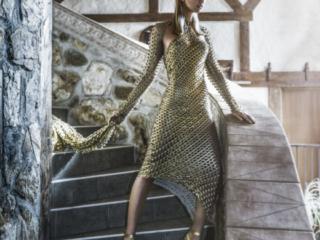 stunning Gold dress  fashion Editorial