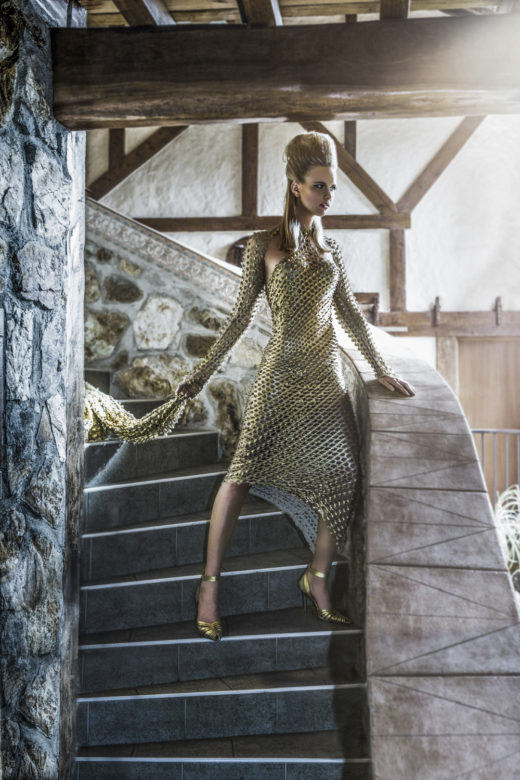 stunning Gold dress  fashion Editorial