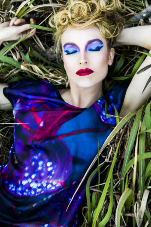 colors makeup extraordinaire for model and silk dress