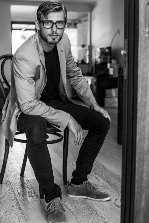 fashion shot of hot man Vogue style