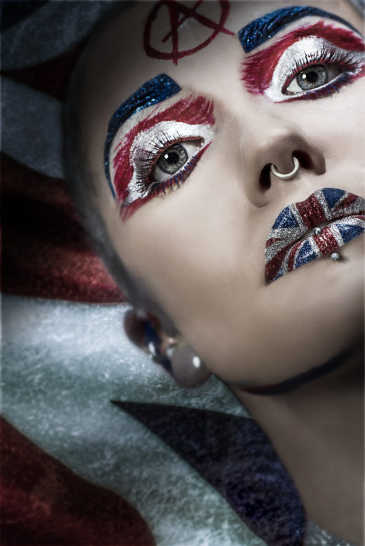 union jack art makeup ,mode,l fierce ,god save the queen