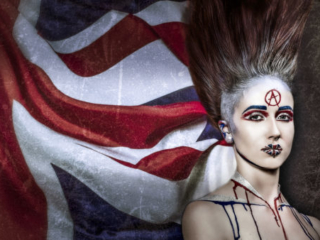 union jack punk anarchy art makeup ,model ,fierce ,god save the queen