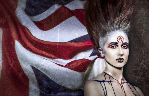 union jack punk anarchy art makeup ,model ,fierce ,god save the queen